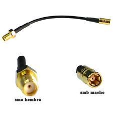 Pigtail adaptador SMB macho a SMA hembra cable RG174 de 10 cms