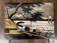 Vietnam Laque Ancien Indochine Signé Peinture Vietnamienne Art