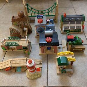 9 Piece Lot Wooden Train Thomas & Friends Wood Wash Bridge Recycling Lighthouse