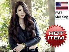 WIG dark brown Womens Cosplay Long Curly Wavy Hair Full Wig Party Costume Wig