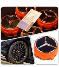 X 4 MERCEDES AMG Orange Wheel Centre Caps 75 mm s'adapte a A C E A45 Classe C63 C43 E63