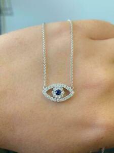 Evil Eye Pendant Necklace In 14k White Gold Over 1.75Ct Blue Sapphire & Diamond