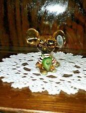 Fenton Christmas Mouse Gold With Green Overalls & White Striped Shirt 5148 NY