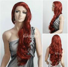 Dark Red Graceful Haifa Wehbe Long Wavy Curly Wig Fashion Front Lace Wig Hair