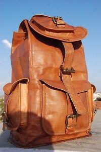 Large Vintage Style Real Genuine Leather Bag Rucksack Backpack Dark Brown *