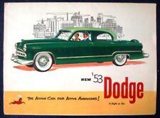 DODGE CAR RANGE SALES BROCHURE 1953. CORONET MEADOWBROOK