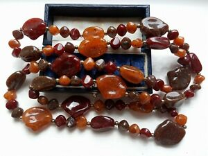 """VINTAGE 70s RETRO BEAUTIFUL FAUX AMBER MULTI-COLOUR RESIN?NUGGET 39""""Lg NECKLACE"""