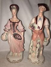 "Vintage Pair of Cordey 16"" Tall Porcelain Figurines #304 and # 305"