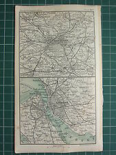 1904 SMALL MAP ~ MANCHESTER ~ LIVERPOOL ENVIRONS RIVER MERSEY STATIONS