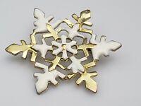 Vintage Snowflake Christmas Holiday Brooch Pin White Enamel Gold Tone Metal