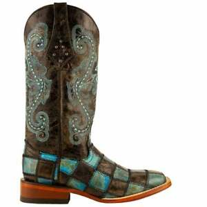 Ferrini Patchwork Embroidered Square Toe   Womens  Western Cowboy Boots   Mid