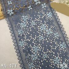 "1 Yard Pretty Floral Stretch Delicate Scallop Edge Lace Trim Slate Blue  7"" Wide"