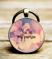 Personalised Greys Anatomy Friendship Glass Dome Key Ring ''You're My Person''