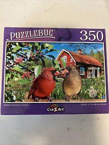 PUZZLEBUG  350 pc  jigsaw NORTHERN CARDINALS 18.25x11 BN **FREE SHIP**