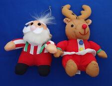 "2 Christmas ornaments 6"" Santa Claus 7"" reindeer puffy parachute nylon"