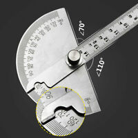 Stainless Steel Round Head Rotary Protractor Angle Measuring Ruler 180 Degree