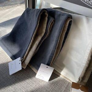 Pottery Barn Velvet Linen Pillow Cover Ivory, Steel Blue 20 sq NWT
