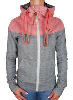 alife and kickin Damen Sweatjacke PalinaAK Sweat rot grau Kapu gepunktet