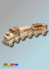 Lokomotive Zug Eisenbahn 2 Waggons Anhänger mit Bauklötzen aus Holz Holzzug Lok
