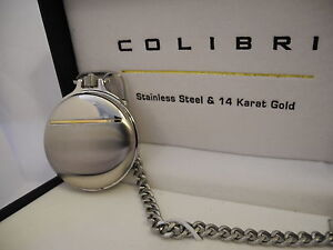 COLIBRI SILVERTONE STAINLESS STEEL AND 14K GOLD POCKET WATCH WITH DATE NEW!