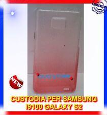 Custodia+pellicola BACK COVER SFUMATA CLEAR ROSSA per Samsung I9100 s2 I9105