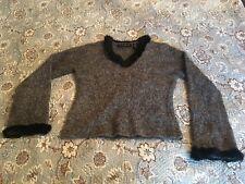 Willi Smith Collection Gray Multi Angora Rabbit V-Neck Women's Sweater Medium