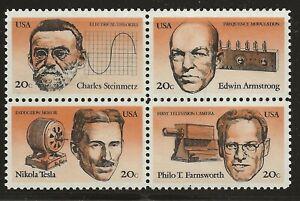 US Scott #2055-58, Block of 4 1983 American Inventors 20c FVF MNH