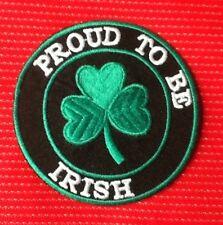 PROUD TO BE IRISH ST PATRICK IRELAND CLOVER LEAF EIRE BADGE IRON SEW ON PATCH