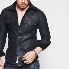 Masculine Edge Design Stretchy Mens Black Real Leather Western Shirt Guylook