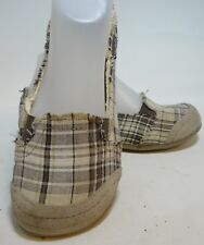 Size 6.5 M MUDD Canvas Brown Plaid Casual Shoes Slip On Preform