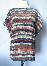 Vintage 1970s 1980s Knitted Leather Jumper Brown Black Red White Boho Hippy M/L