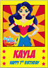 DC Super Hero Girls Wonder Woman Birthday Card A5 Personalised with own words