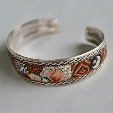 Vintage FUN Sterling Silver Mixed Patterns Lady Moon Stars Cuff Bracelet