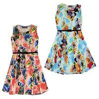 Girls Skater Dress Kids Blue Orange Floral Print Summer Party Dance Dresses 7-13
