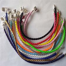 Mix colour 13pcs Leather Bracelet Chain Bangle Fit European Charms Beads-Buckle