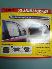 PAIR OF UNIVERSAL CAR COLLAPSIBLE SUNSHADE WINDSCREEN COVER REAR SIDE WINDOWS