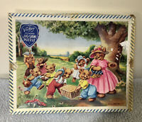 Vintage Victory Wooden Jigsaw Puzzle. Teddy Bears Picnic Child's Toy Complete