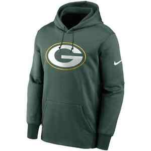 New 2021 NFL Green Bay Packers Nike Fan Gear Primary Logo Therma Pullover Hoodie
