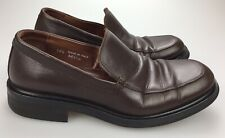 BARNEYS NEW YORK Men's 10.5 M Brown Leather Loafers Made in ITALY Dress Shoes
