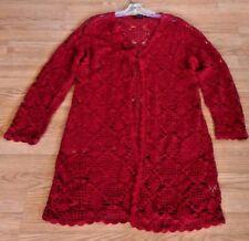 Women Long Sleeve Knitting Crochet Front Open Cardigan Sweater Long Red