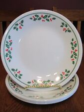 """Four Corelle Christmas Winter Holly 6 3/4"""" Holiday Bread & Butter Plates"""