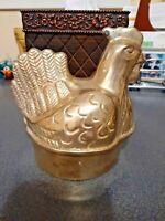 Vtg Solid Brass Nesting Hen/Chicken Candy Dish/ Trinket Box