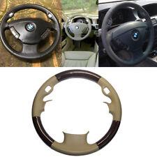 Tan Leather Wood Steering Wheel Cover 02-08 BMW 3-Spokes E65 E66 7 735 745 760