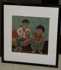 "BATIK PAINTING Handmade Java Indonesia Colorful Folk Art 1997 Framed 11"" Signed"