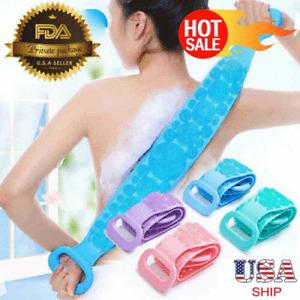 Silicone Bath Towel Back Brush Scrubber Exfoliating Scrub Body Wash Dual Side