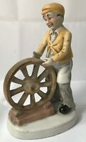 Porcelain Figurine Man Making Wood Cart Carriage Wheel Craftsman Woodworking
