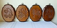 Vintage Wooden Carved Wall Hanging Birds Finches Wood Pecker Cardinals Set of 4