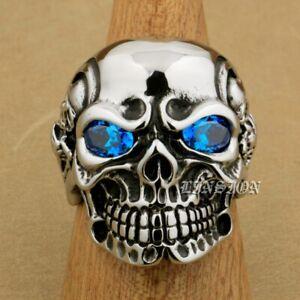 316L Stainless Steel Blue CZ Eyes Titan Skull Mens Boys Biker Rock Ring 3A201A