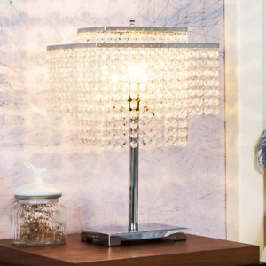 Crystal Table Lamp Chrome Desk Lamp With Elegant Crystal Shade For Night Stand