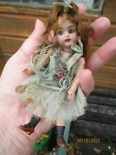 Beautiful Antique French/German Miniature Fairy Doll 5 ins / 13cm Blue Eyes